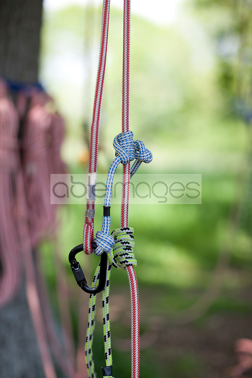 Close up of knots on climbing ropes