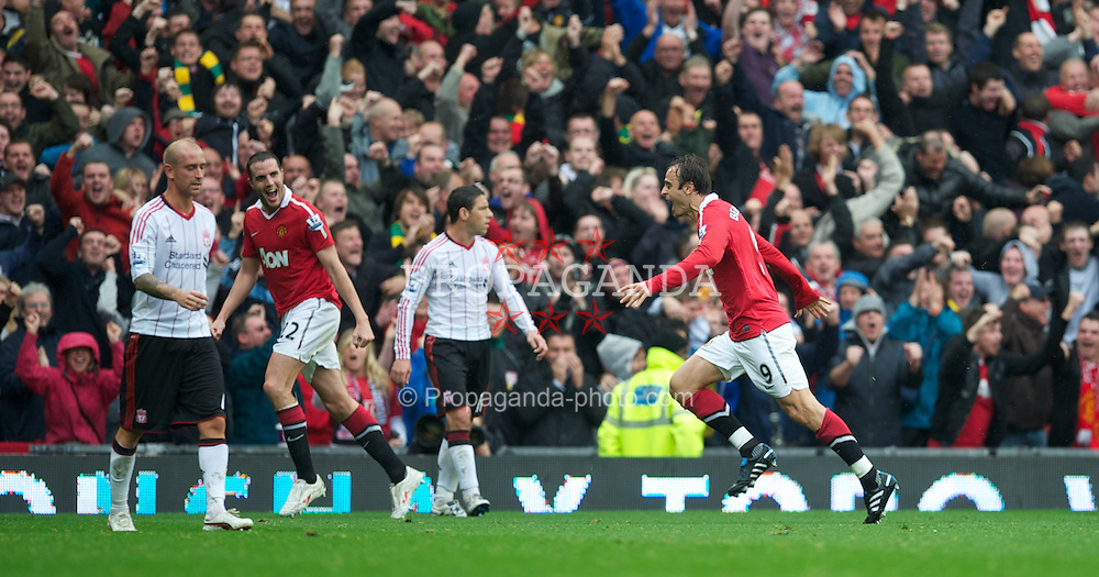 MANCHESTER, ENGLAND - Sunday, September 19, 2010: Manchester United's Dimitar Berbatov celebrates scoring against Liverpool during the Premiership match at Old Trafford. (Photo by David Rawcliffe/Propaganda)
