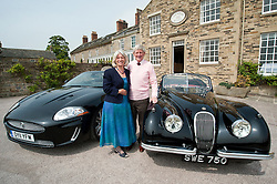 Hatfields Jaguar Ride and Drive event at the Cavendish Hotel Baslow Derbyshire Hatfields Peter Twyford with his wife Trisha and his original XK which was originally  sold by Hatfields in the 1950's beside Jaguars Modern equivalent XK..5th May 2011.Images © Paul David Drabble