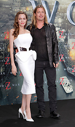 "Angelina Jolie and Brad Pitt during the premiere for ""World War Z"" in Berlin, Germany,  04 June 2013. Photo by Agentur Schneider-Press / SA / Frau / i-Images. <br /> UK & USA ONLY"
