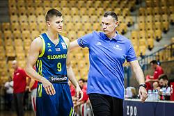 Blaz Mesicek of Slovenia and Radovan Trifunovic, head coach of Slovenia during friendly basketball match between Slovenia and Croatia , on September 8, 2018 in Arena Zlatorog, Celje, Slovenia. Photo by Ziga Zupan / Sportida