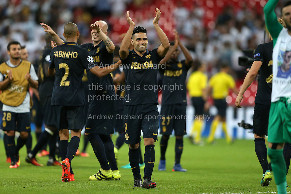 Radamel Falcao Garcia of AS Monaco (c)  applauds the AS Monaco traveling fans after the final whistle. UEFA Champions league match, group E, Tottenham Hotspur v AS Monaco at Wembley Stadium in London on Wednesday 14th September 2016.<br /> pic by John Patrick Fletcher, Andrew Orchard sports photography.