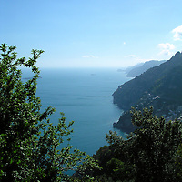 10 May, 2004:  The view of the Amalfi coast in Italy from the mountain town of Montepertuso, Itlay against the Mediterranean Sea on May 10, 2004.