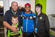 Players sponsorship during the EFL Sky Bet League 2 match between Forest Green Rovers and Crawley Town at the New Lawn, Forest Green, United Kingdom on 24 February 2018. Picture by Shane Healey.