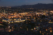 overview of the center of Palm Springs at sunset