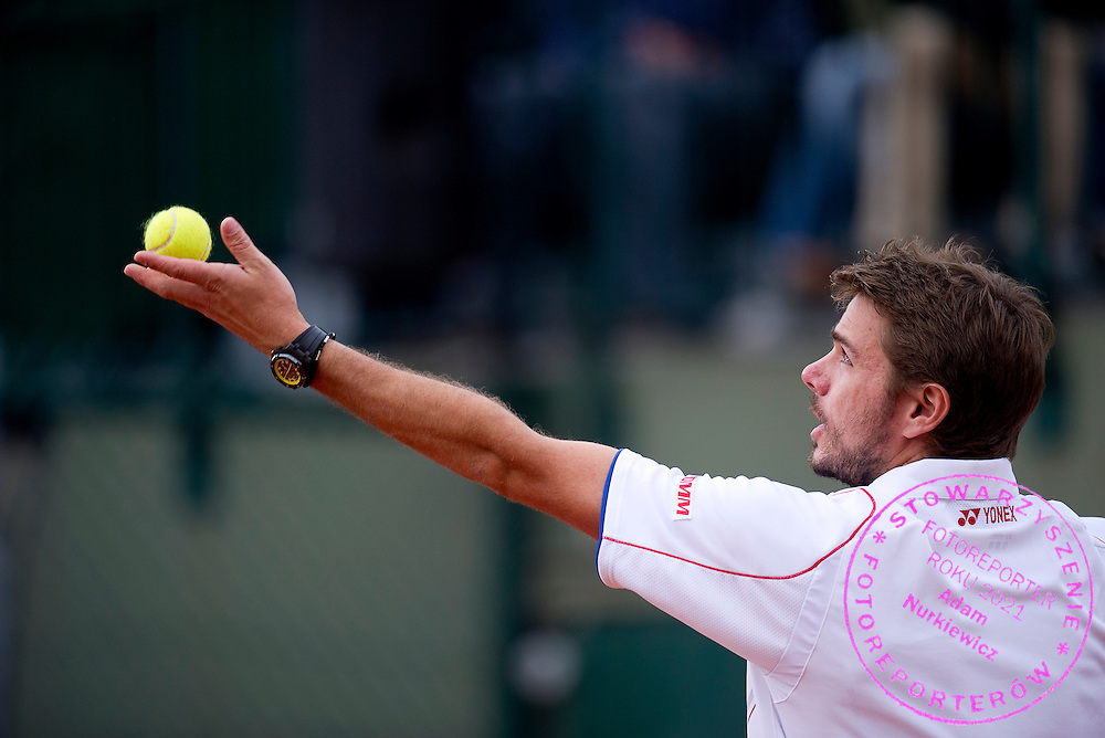 Stanislas Wawrinka of Switzerland competes in men's singles while Day Sixth during The French Open 2013 at Roland Garros Tennis Club in Paris, France.<br /> <br /> France, Paris, May 31, 2013<br /> <br /> Picture also available in RAW (NEF) or TIFF format on special request.<br /> <br /> For editorial use only. Any commercial or promotional use requires permission.<br /> <br /> Mandatory credit:<br /> Photo by &copy; Adam Nurkiewicz / Mediasport