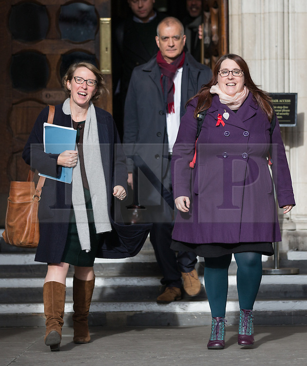 "© Licensed to London News Pictures. 10/11/2016. London, UK. Deborah Gold, Chief Executive of National AIDS Trust and her representative Louise Whitfield (left) leave the High Court, as NHS England lose their appeal against a High Court Judge, who ruled that the body has the power to commission pre-exposure prophylaxis (PrEP), a drug described as a ""game changer"" in the fight against HIV/AIDs. NHS England argued that providing the drug was not its responsibility, and it was for local councils to fund ""preventative"" health treatment. Photo credit : Tom Nicholson/LNP"