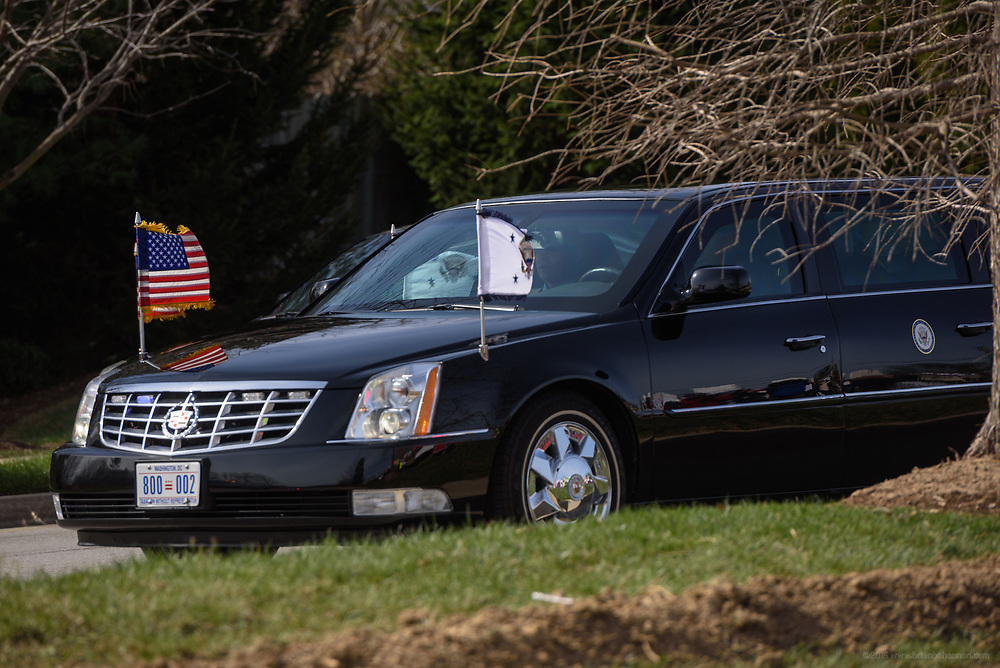 The arrival of the Vice Presidential limousine. Groups protest The Republican Party's proposed changes to the Affordable Care Act during a visit by Vice President Mike Pence with Kentucky Governor Matt Bevin and business leaders Saturday, March 11, 2017 at Trane Parts and Distribution Center, 12850 Plantside Drive, Louisville, Ky. (Photo by Brian Bohannon)
