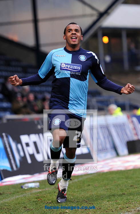 Picture by Matt Crossick/Focus Images Ltd. 07711 374584.04/02/12.Matty Whichelow of Wycombe Wanderers scores against Tranmere Rovers during the Npower League 1 match at Adams Park, Wycombe.