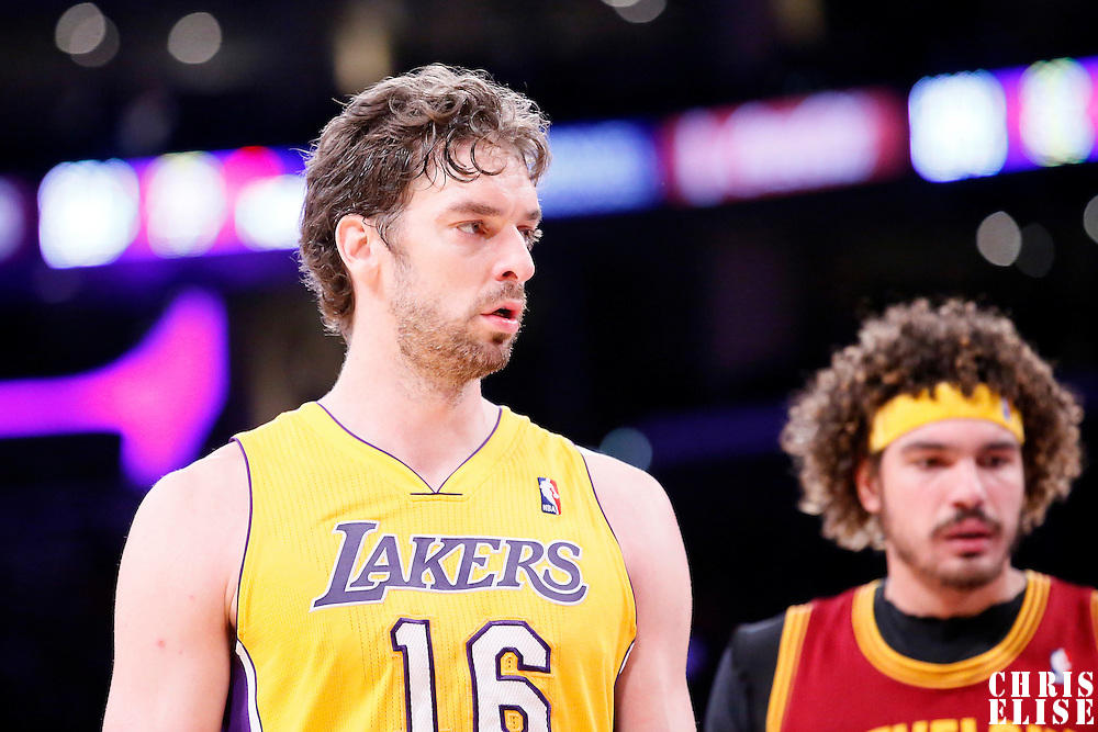 14 January 2014: Los Angeles Lakers center Pau Gasol (16) is seen during the Cleveland Cavaliers 120-118 victory over the Los Angeles Lakers at the Staples Center, Los Angeles, California, USA.