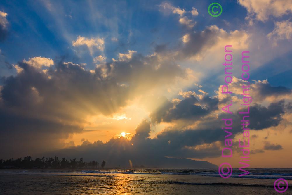 Sunset over the north shore of Oahu, Hawaii, © 2010 David A. Ponton