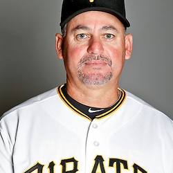February 17, 2013; Bradenton, FL, USA;  Pittsburgh Pirates bullpen coach Euclides Rojas (56) poses for photo day at Pirate City.  Mandatory Credit: Derick E. Hingle-USA TODAY Sports
