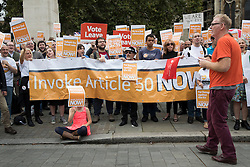 © Licensed to London News Pictures. 05/09/2016. London, UK.  People supporting the Brexit referendum result call for article 50 to be invoked as they demonstrate opposite Parliament. Photo credit: Peter Macdiarmid/LNP