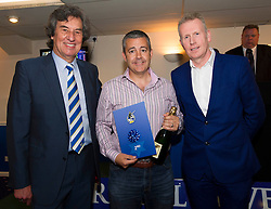 Pensford Press Ltd wins 2nd place in the 1883 Sponsors draw for away shirt sponsorship presented by Barry Bradshaw (Director of Bristol Rovers) and Mike Norton (Post Editor)  - Photo mandatory by-line: Dougie Allward/JMP - Mobile: 07966 386802 - 17/04/2015 - SPORT - Football - Bristol - Memorial Stadium