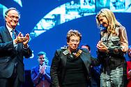 2-12-2016 AMSTERDAM - Queen Maxima issued Friday 2 December, the Prince Bernhard Culture Price from 2016 to documentarian Heddy Honigmann in Music aan 't IJ in Amsterdam. The Culture Fund knows this lifetime achievement award annually to a person or institution with a strong track record in the field of culture, nature and science in the Netherlands. The prize is subject to a sum of 150,000 euros. COPYRIGHT ROBIN UTRECHT<br /> <br /> 2-12-2016  AMSTERDAM - Koningin Maxima reikt vrijdagmiddag 2 december de Prins Bernhard Cultuurfonds Prijs 2016 uit aan documentairemaker Heddy Honigmann, in Muziekgebouw aan 't IJ in Amsterdam. Het Cultuurfonds kent deze oeuvreprijs jaarlijks toe aan een persoon of instelling met een grote staat van dienst op het gebied van cultuur, natuur of wetenschap in Nederland. Aan de prijs is een bedrag van 150.000 euro verbonden. COPYRIGHT ROBIN UTRECHT