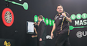 Adrian Lewis (England) celebrates a leg win during the 2015 Unibet Masters at the Arena MK, Milton Keynes, United Kingdom on 1 February 2015. Photo by Phil Duncan.