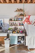 Gateshead, England, UK, January 24 2019 - At Irish artist Claire Morgan's home & studio, next to Newcastle.<br /> Work in progress & art materials in her main studio.