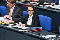 21 MAR 2019, BERLIN/GERMANY:<br /> Michelle Muentefering, SPD, Staatsministerin im Auswaertigen Amt, Bundestagsdebatte zur Regierungserklaerung der Bundeskanzlerin zum Europaeischen Rat, Plenum, Deutscher Bundestag<br /> IMAGE: 20190321-01-117<br /> KEYWORDS: Michelle Müntefering