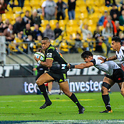 Julian Savea evades tackle during the Super Rugby union game between Hurricanes and Sunwolves, played at Westpac Stadium, Wellington, New Zealand on 27 April 2018.   Hurricanes won 43-15.