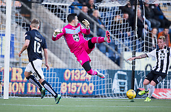 Falkirk's Craig Sibbald scoring their first goal past St Mirren&rsquo;s keeper Jamie Langfield. <br /> Half time ; Falkirk 2 v 0 St Mirren. Scottish Championship game played 21/10/2015 at The Falkirk Stadium.