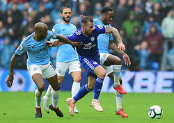 Joe Ralls of Cardiff City battles for the ball with Raheem Sterling of Manchester City and Fabian Delph of Manchester City - Mandatory by-line: Alex James/JMP - 22/09/2018 -  FOOTBALL - Cardiff City Stadium - Cardiff, Wales -  Cardiff City v Manchester City - Premier League