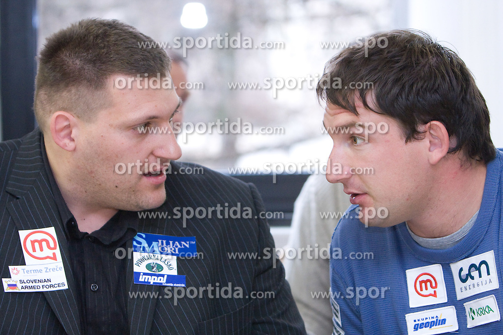 Miroslav Vodovnik and Primoz Kozmus when Slovenian athletes and their coaches sign contracts with Athletic federation of Slovenia for year 2009,  in AZS, Ljubljana, Slovenia, on March 2, 2009. (Photo by Vid Ponikvar / Sportida)
