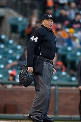 SAN FRANCISCO, CA - MAY 04:  MLB umpire Kerwin Danley #44 stands on the field during the first inning between the San Francisco Giants and the San Diego Padres at AT&T Park on May 4, 2015 in San Francisco, California.  The San Francisco Giants defeated the San Diego Padres 2-0. (Photo by Jason O. Watson/Getty Images) *** Local Caption *** Kerwin Danley