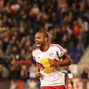 Thierry Henry, New York Red Bulls, celebrates after scoring a goal during the New York Red Bulls V New England Revolution, Major League Soccer regular season match at Red Bull Arena, Harrison, New Jersey. USA. 20th April 2013. Photo Tim Clayton