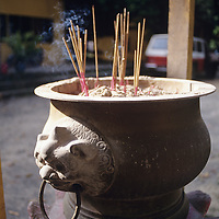 Pulau Ubin Monastery scene, buring incense