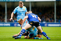 Jack Innard of Exeter Chiefs is tackled by Max Lahiff of Bath Rugby - Mandatory by-line: Ryan Hiscott/JMP - 03/11/2018 - RUGBY - Sandy Park Stadium - Exeter, England - Exeter Chiefs v Bath Rugby - Premiership Rugby Cup