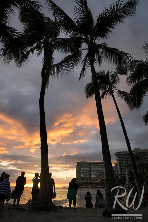 Waikiki Beach at Sunset, Honolulu, O'ahu, Hawaii