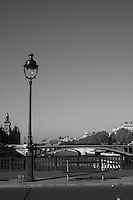 Lampstand on bridge over River Seine, Paris, France<br />
