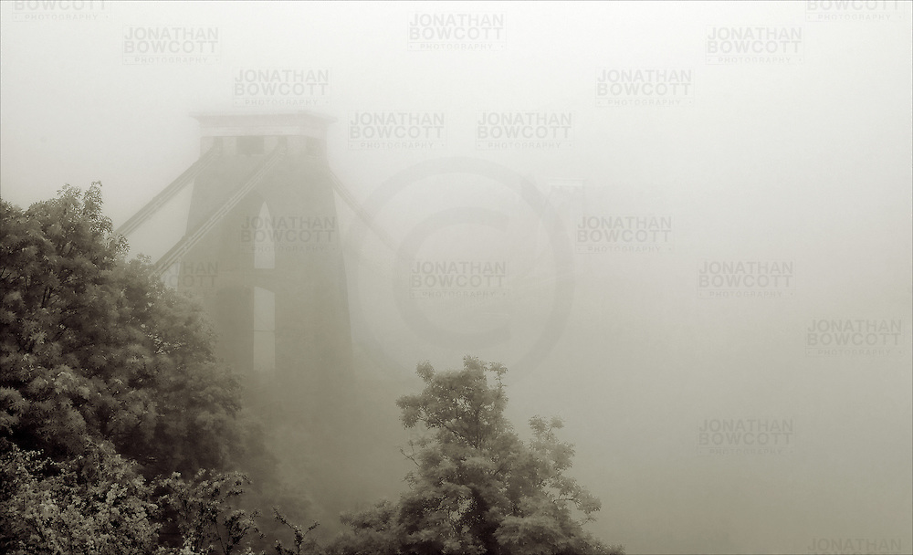 Black and White image of the Clifton Suspension Bridge Bristol during Spring mists