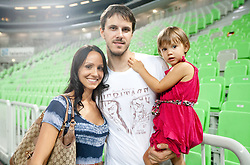 Bostjan Nachbar with his wife and daughter Tara after the friendly match before Eurobasket Lithuania 2011 between National teams of Slovenia and Lithuania, on August 24, 2011, in Arena Stozice, Ljubljana, Slovenia. Slovenia defeated Lithuania 88-66. (Photo by Vid Ponikvar / Sportida)