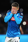 Dries Mertens of Napoli celebrates after scoring 4-0 goal by penalty during the UEFA Champions League, Group E football match between SSC Napoli and KRC Genk on December 10, 2019 at Stadio San Paolo in Naples, Italy - Photo Federico Proietti / ProSportsImages / DPPI