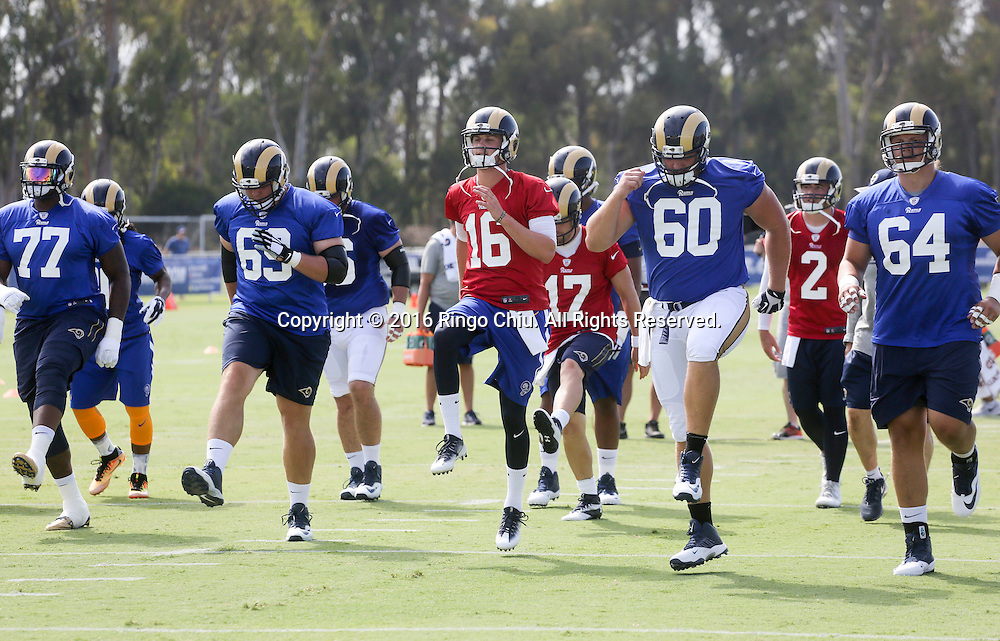 QB Jared Goff #16 in Los Angeles Rams training session at UC Irvine campus.<br /> (Photo by Ringo Chiu/PHOTOFORMULA.com)<br /> <br /> Usage Notes: This content is intended for editorial use only. For other uses, additional clearances may be required.