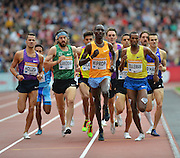 Asbel Kiprop leading the Emsley Carr Mile during the Sainsbury's Anniversary Games at the Queen Elizabeth II Olympic Park, London, United Kingdom on 25 July 2015. Photo by Mark Davies.