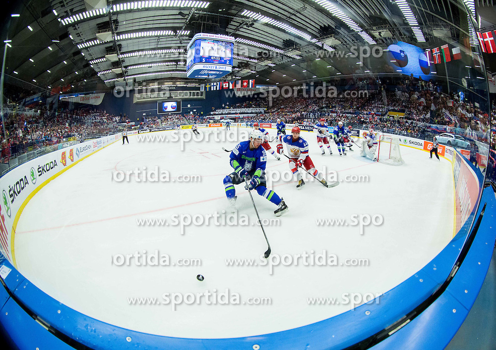 Robert Sabolic of Slovenia vs Yegor Yakovlev of Russia during Ice Hockey match between Russia and Slovenia at Day 3 in Group B of 2015 IIHF World Championship, on May 3, 2015 in CEZ Arena, Ostrava, Czech Republic. Photo by Vid Ponikvar / Sportida