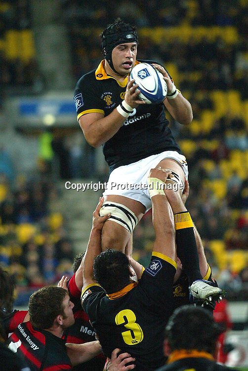 3 August 2004, Westpac Stadium, Wellington, <br /> New Zealand, Rugby Union, NPC Div 1<br /> Wellington Lions vs Canterbury<br /> Lion's Ross Filipo during Wellington's 34-22 win over Canterbury on Friday night.<br /> Please Credit: Marty Melville/Photosport