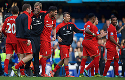 LONDON, ENGLAND - Saturday, October 31, 2015: Liverpool manager Jurgen Klopp celebrates the 3-1 victory over Chelsea with Emre Can and James Milner after the Premier League match at Stamford Bridge. (Pic by Lexie Lin/Propaganda)