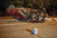 Auckland-Car rolls after hitting tree, Mechanics  Bay