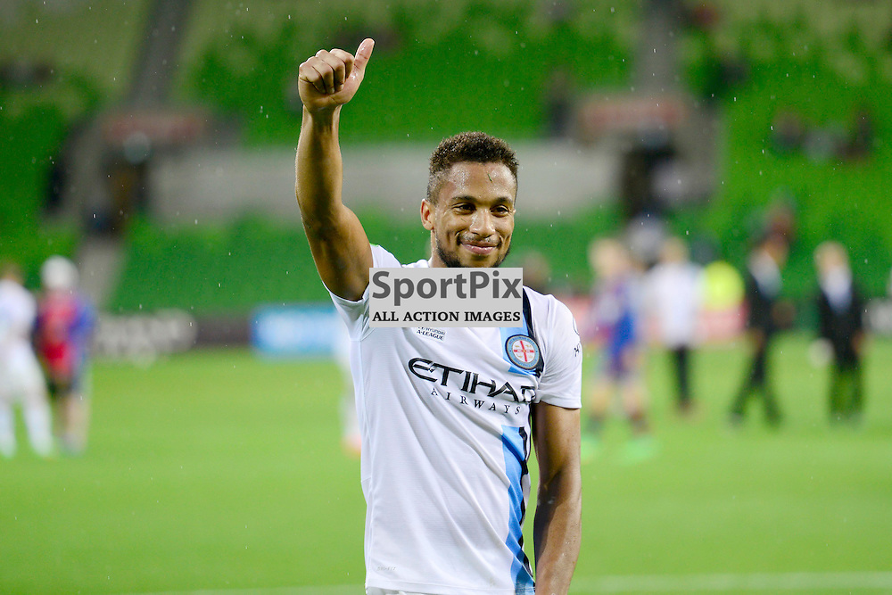 Harry Novillo (Melbourne City) celebrate in the fan zone the final score of 4:0 to City in the - Hyundai A-League, 14th March 2015, RD 21- match between Melbourne City FC v Newcastle Jets at Aami Park, Melbourne Australia. © Mark Avellino | SportPix.org.uk