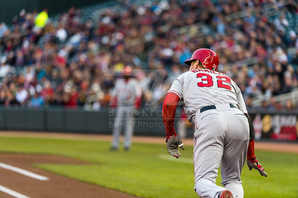 Josh Hamilton #32 of the Los Angeles Angels bats during a game against the Minnesota Twins on April 16, 2013 at Target Field in Minneapolis, Minnesota.  The Twins defeated the Angels 8 to 6.  Photo: Ben Krause