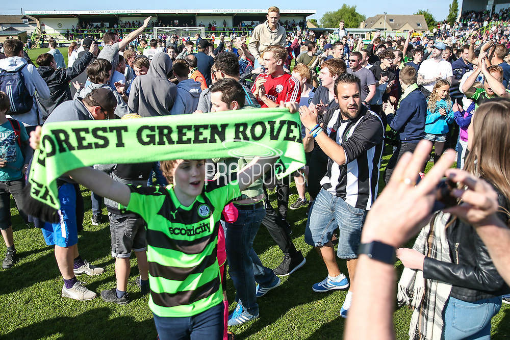 FGR supporters on the pitch after the match during the Vanarama National League Play Off second leg match between Forest Green Rovers and Dagenham and Redbridge at the New Lawn, Forest Green, United Kingdom on 7 May 2017. Photo by Shane Healey.