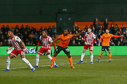 Barnet forward Shaquile Coulthirst (10) and Barnet midfielder Daniel Sparkes (11) signal for the cross to be passed their way during The FA Cup fourth round match between Barnet and Brentford at The Hive Stadium, London, England on 28 January 2019.