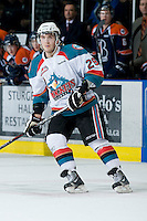KELOWNA, CANADA, JANUARY 25: Myles Bell #29 of the Kelowna Rockets skates on the ice as the Kamloops Blazers visit the Kelowna Rockets on January 25, 2012 at Prospera Place in Kelowna, British Columbia, Canada (Photo by Marissa Baecker/Getty Images) *** Local Caption ***