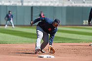 Miguel Cabrera #24 of the Detroit Tigers fields ground balls during batting practice before a game against the Minnesota Twins on April 3, 2013 at Target Field in Minneapolis, Minnesota.  The Twins defeated the Tigers 3 to 2.  Photo: Ben Krause