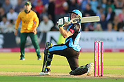 Ben Cox of Worcestershire Rapids slog sweeps during the Vitality T20 Blast North Group match between Nottinghamshire County Cricket Club and Worcestershire County Cricket Club at Trent Bridge, West Bridgford, United Kingdon on 18 July 2019.