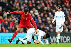 Emre Can of Liverpool battles with Leroy Fer of Swansea City - Mandatory by-line: Matt McNulty/JMP - 21/01/2017 - FOOTBALL - Anfield - Liverpool, England - Liverpool v Swansea City - Premier League