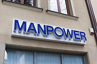 Manpower sign above an office in Krakow Poland